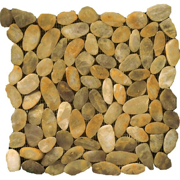 Flat Rivera Pebbles 12 x 12 Mosaic in Gold by Emser Tile