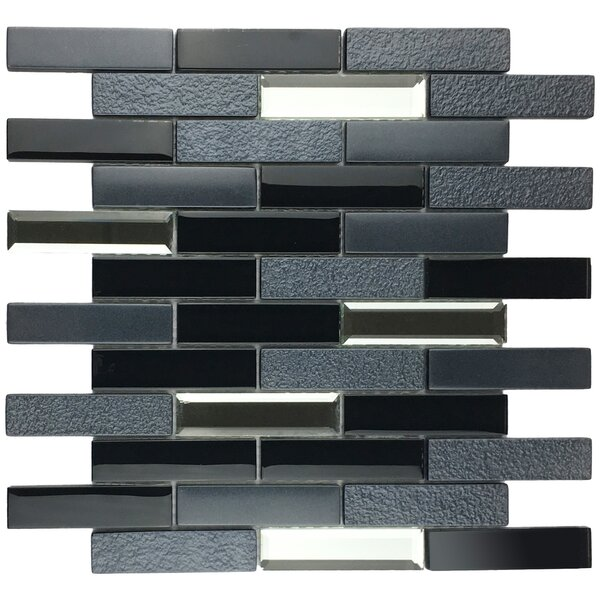 Paint Effect Brick 2 x 4 Glass Mosaic Tile in Gray/Black Metal by Multile
