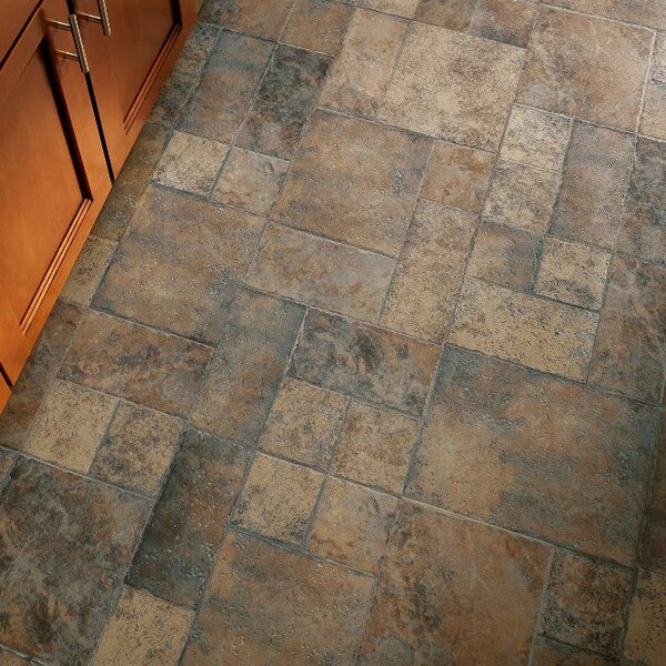 Stones and Ceramics 15.94 x 47.75 x 8.3mm Tile Laminate Flooring in Weathered Way Roman Grey by Armstrong Flooring