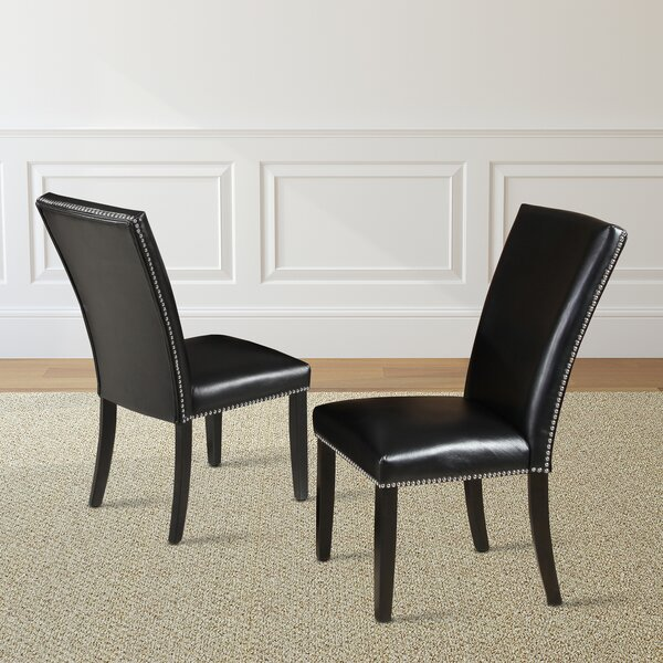 Cedric Upholstered Parsons Chair in Black (Set of 2) by Red Barrel Studio Red Barrel Studio