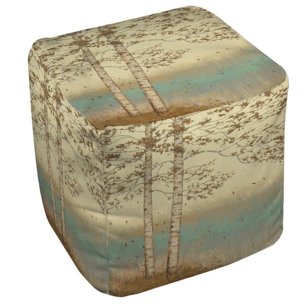 Golden Birch Pouf by Manual Woodworkers & Weavers