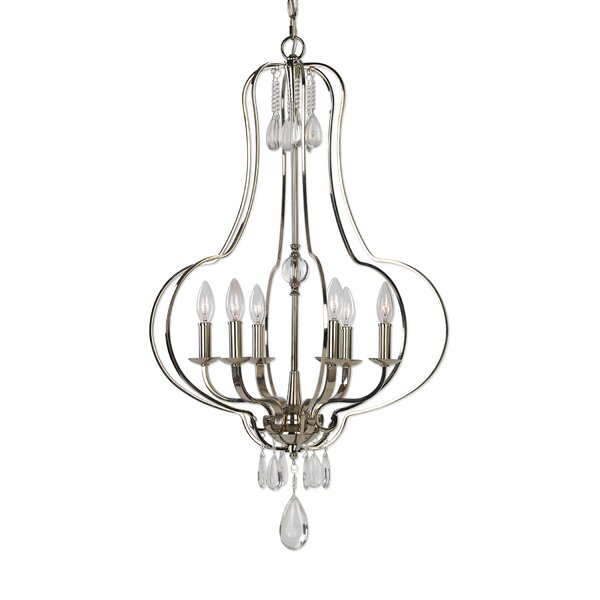 Dorian 6 - Light Candle Style Geometric Chandelier By House Of Hampton