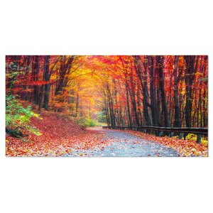'Road in Beautiful Autumn Forest' Photographic Print on Wrapped Canvas by Design Art