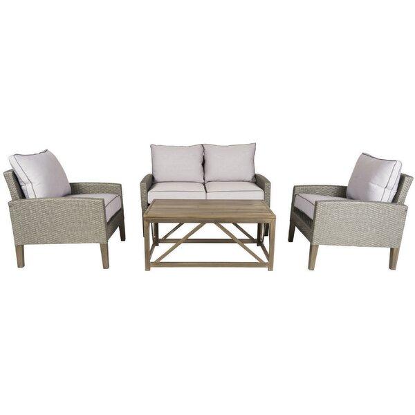 Clinton 4 Piece Sofa Set with Cushions by Gracie Oaks