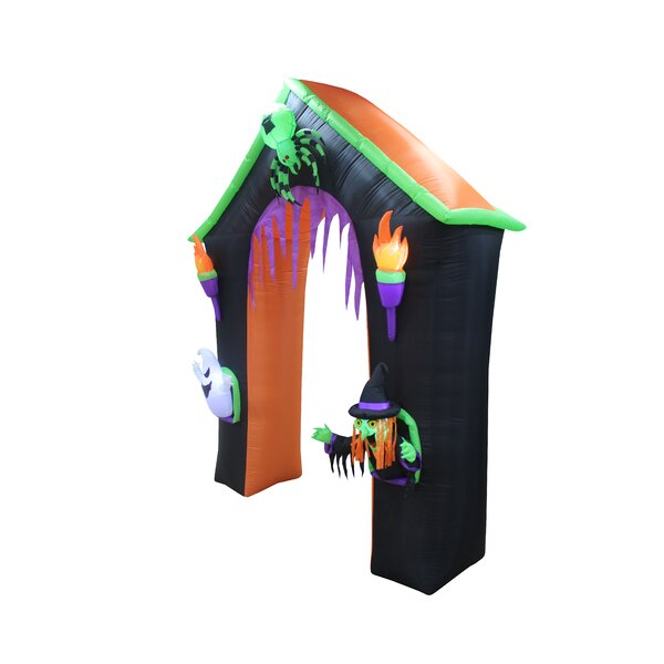 Haunted House Archway with Ghost, Witch and Spider Halloween Inflatable by The Holiday Aisle