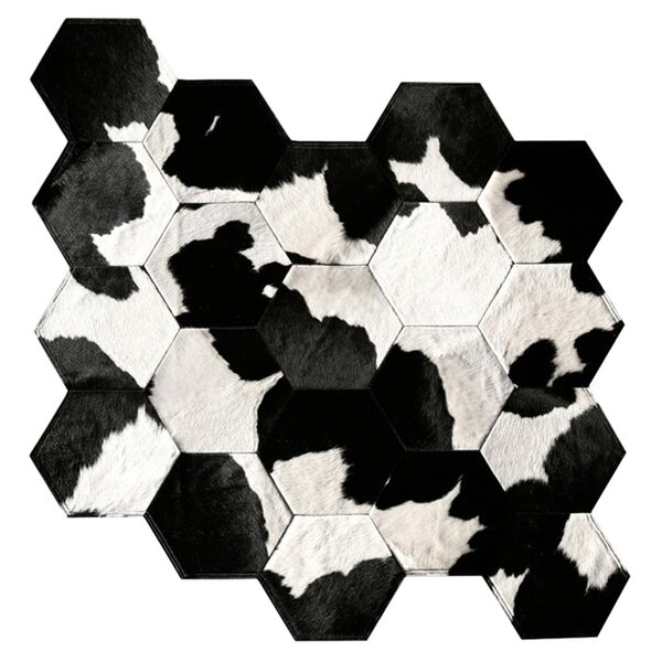Patchwork Cowhide Japanese Black/Gray Indoor Area Rug by Pure Rugs