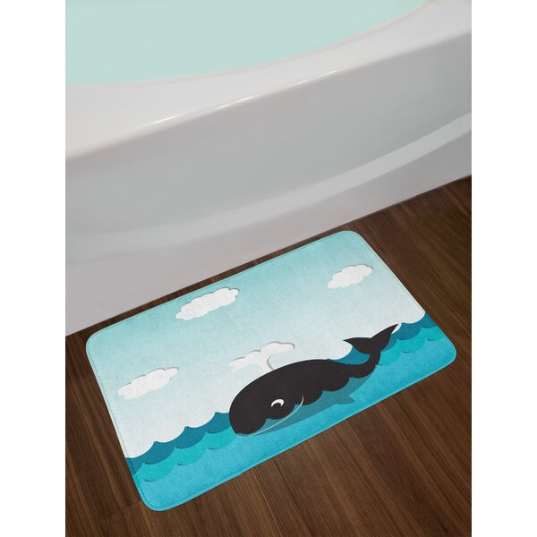 Cute Black and Blue Whale Bath Rug by East Urban Home