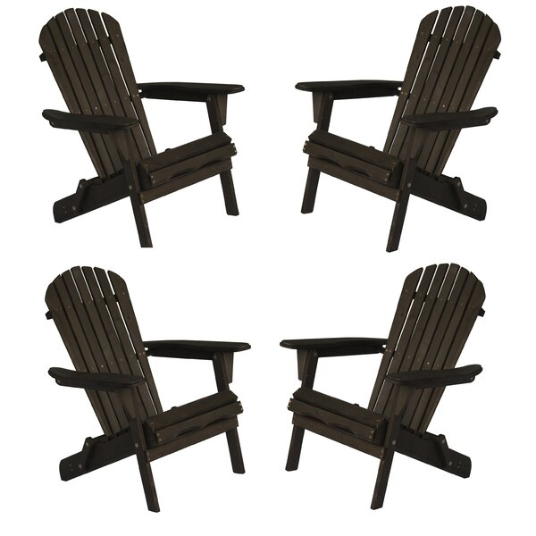 Mandalay Oceanic Solid Wood Folding Adirondack Chair (Set of 4) by Highland Dunes Highland Dunes
