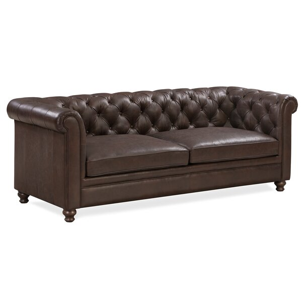 Aliceville Leather Chesterfield Sofa by Canora Grey