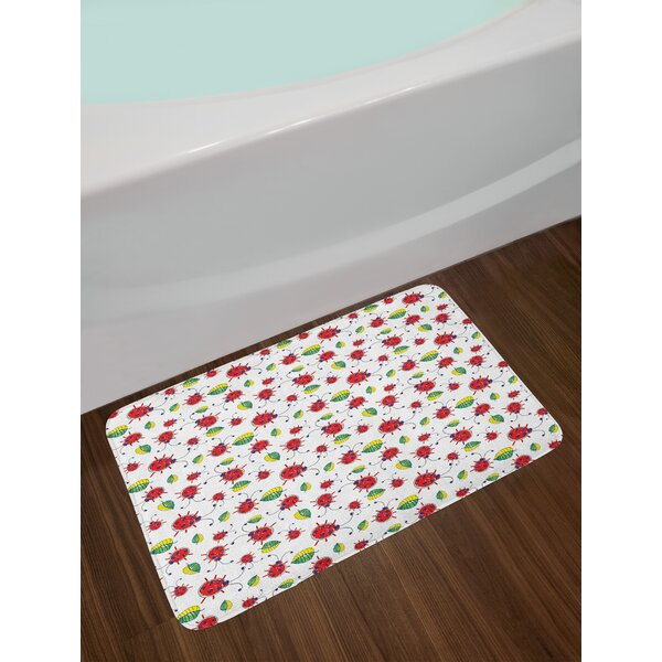Cute Hand Ladybugs Bath Rug by East Urban Home