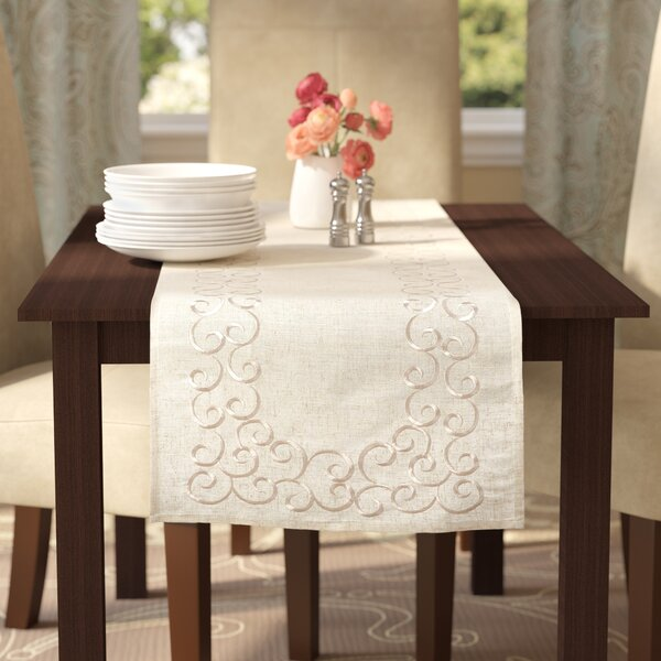 Jean Embroidered Motif Table Runner by Lark Manor