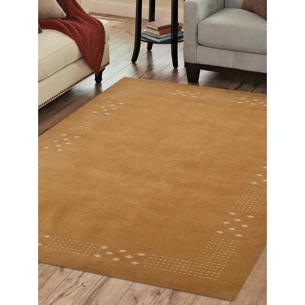 St Catherine Hand-Knotted Wool Gold Area Rug by Millwood Pines