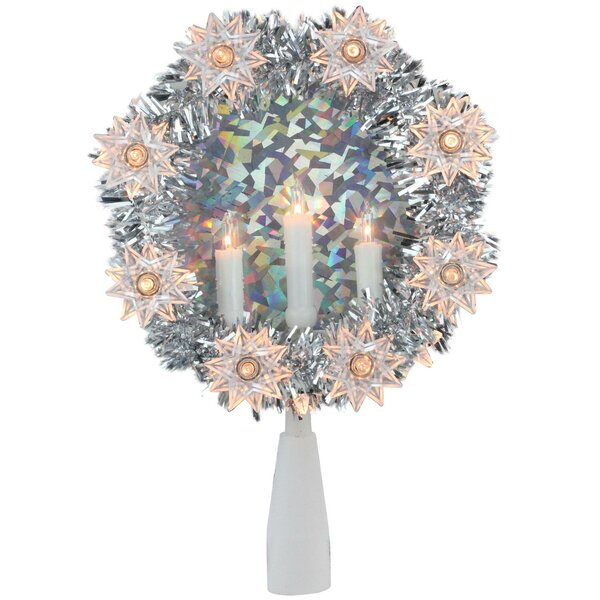 Tinsel Wreath with Candles Christmas 10 Light Tree Topper by The Holiday Aisle