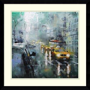 New York Rain Framed Painting Print by Latitude Run