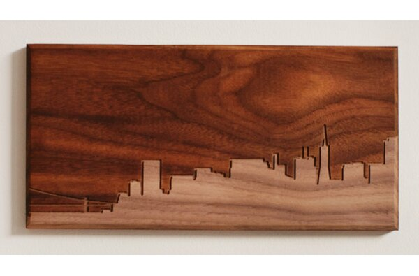 City Skylines Solid Walnut San Francisco Skyline Routing Wall Art by Dave Marcoullier Wood Routings