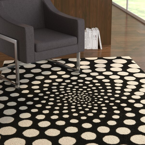 Chidi Black/Ivory Contemporary Rug by Ebern Designs