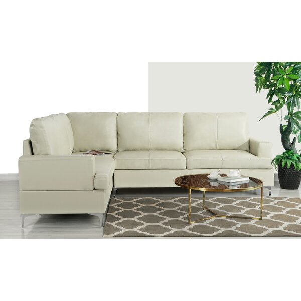 Lozier Leather Symmetrical Sectional by Orren Ellis