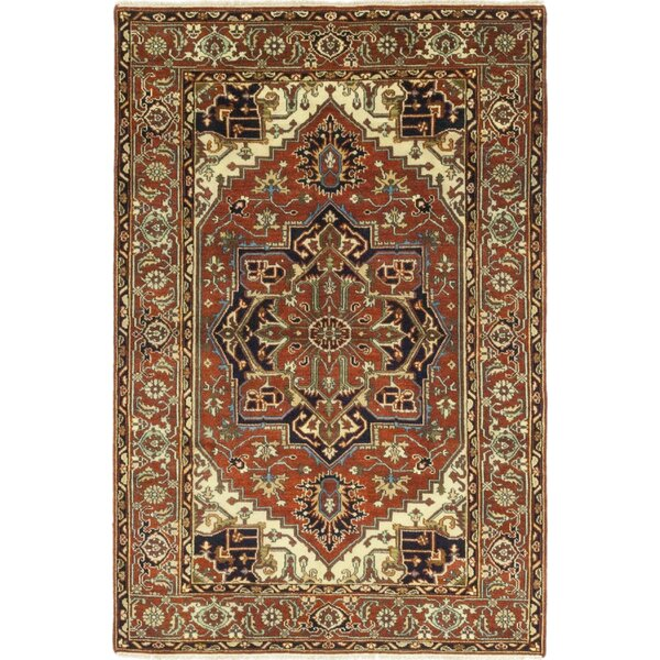 One-of-a-Kind Cort Hand-Knotted Wool Red/Beige Indoor Area Rug by Astoria Grand