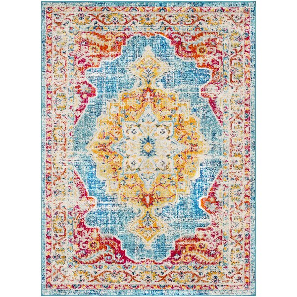Berry Red/Blue Area Rug by Bungalow Rose