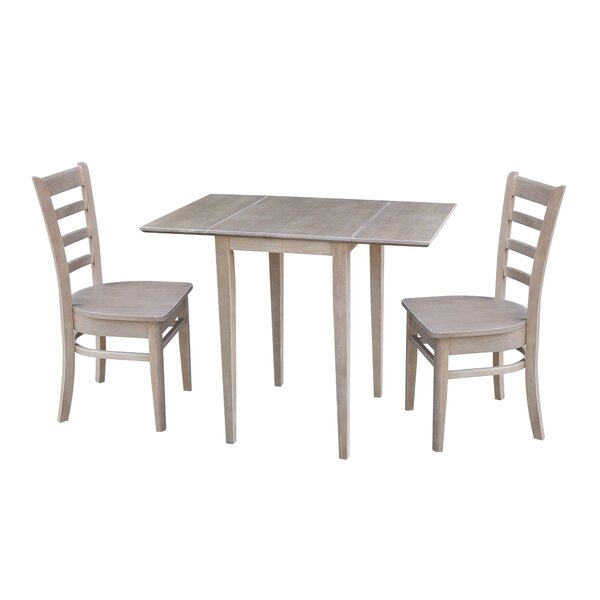 Springs Small Dual 3 Piece Drop Leaf Solid Wood Dining Set by August Grove
