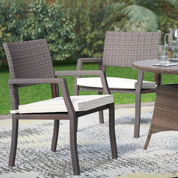 Maegan Patio Dining Chair with Cushion (Set of 2) by Wade Logan