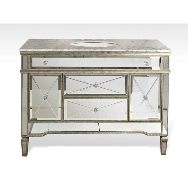 Chenai 48 Carrara Marble Single Bathroom Vanity Set by Everly Quinn