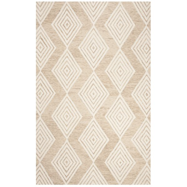 Pizano Hand-Woven Wool Beige/Ivory Area Rug by Wrought Studio