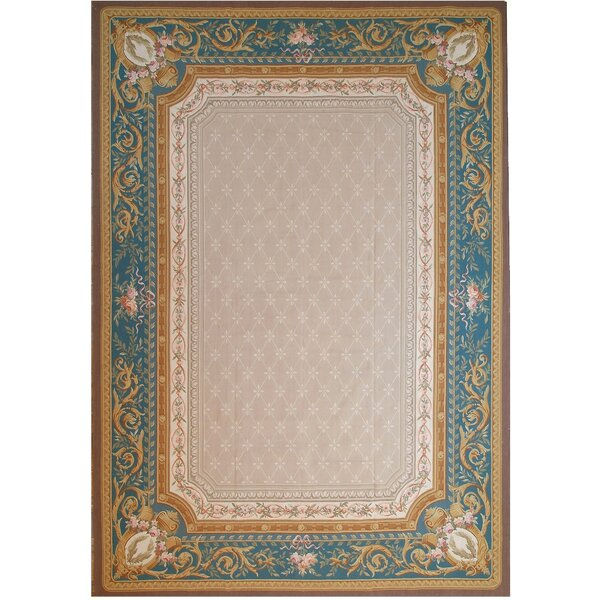 Aubusson Hand-Woven Wool Beige/Blue/Brown Area Rug by Pasargad