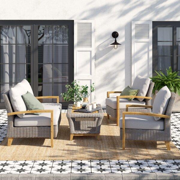 Dillard 4 Piece Teak Sofa Seating Group with Cushions by Laurel Foundry Modern Farmhouse