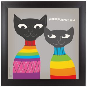 Rainbow Cats Framed Graphic Art by East Urban Home