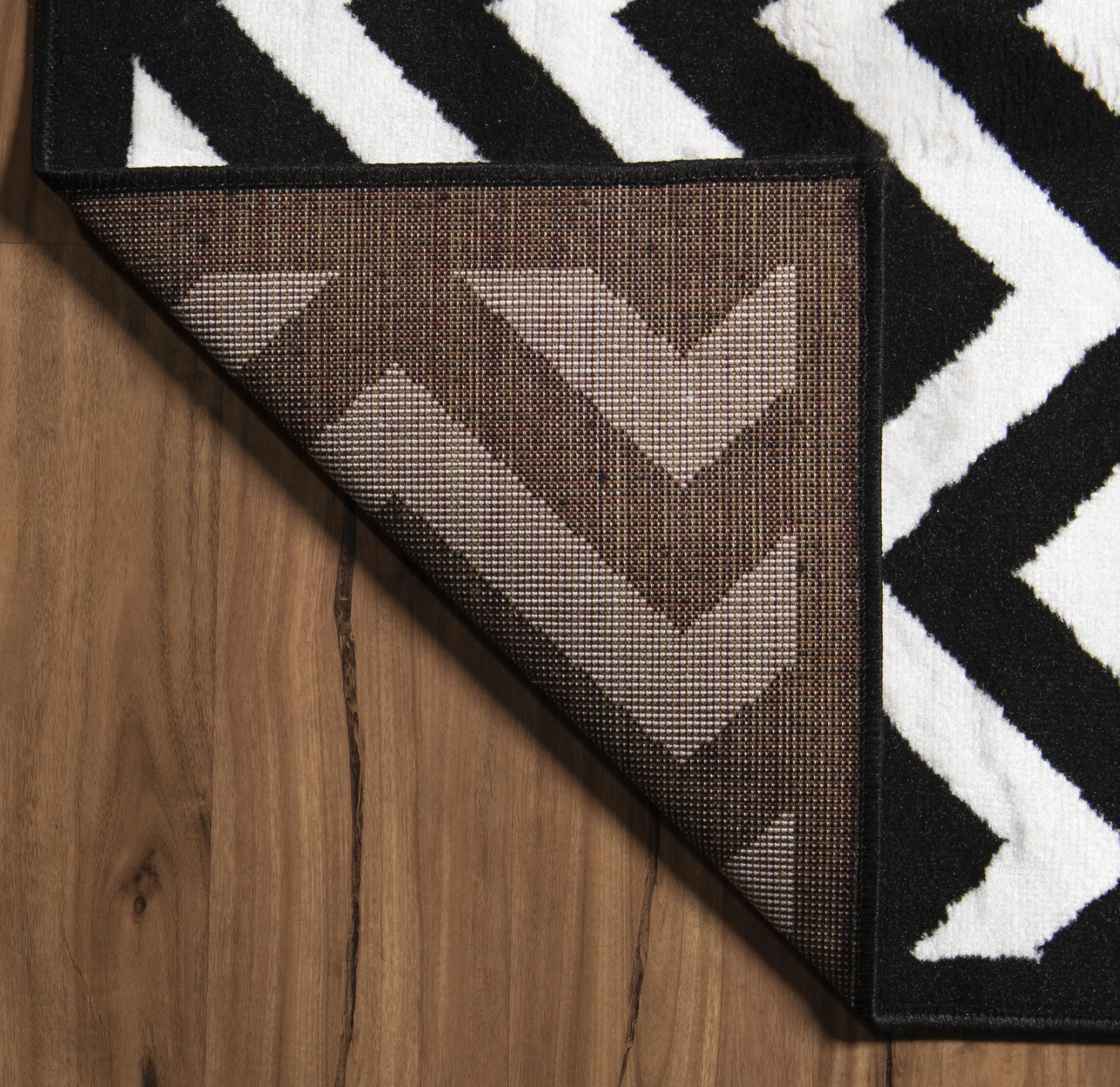 Ebern Designs Bruns Black White Chevron