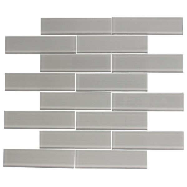 Lined 1.5 x 6 Glass Mosaic Tile in Gray by Susan Jablon