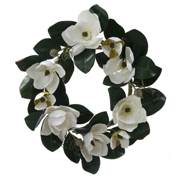 26 Artificial Magnolia Flower and Leaves Silk Floral Wreath by Vickerman