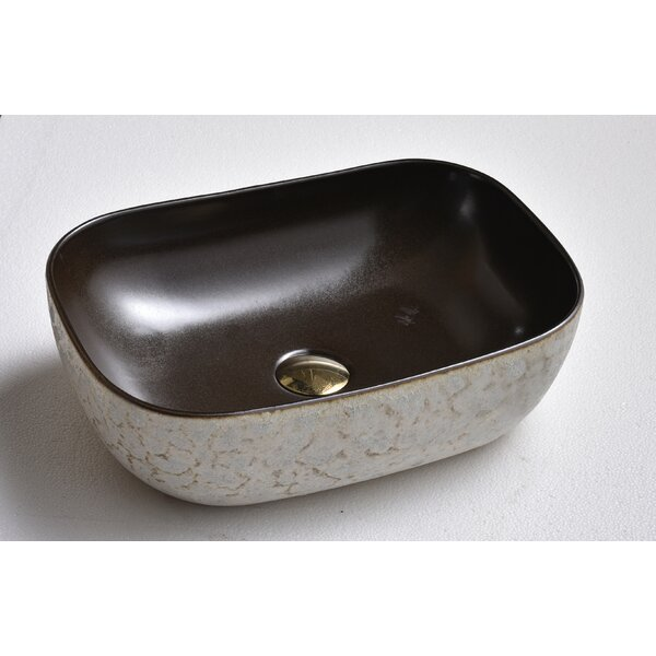 Gray/Black Vitreous China Rectangular Vessel Bathroom Sink