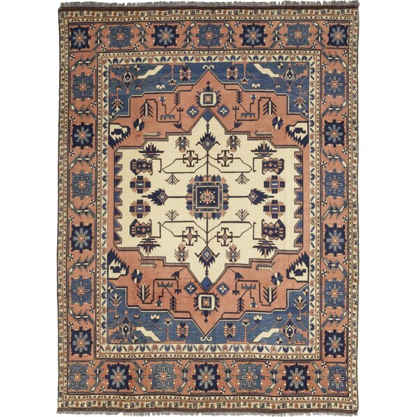 One-of-a-Kind Allbee Hand-Knotted Wool Peach/Blue Indoor Area Rug by Bloomsbury Market