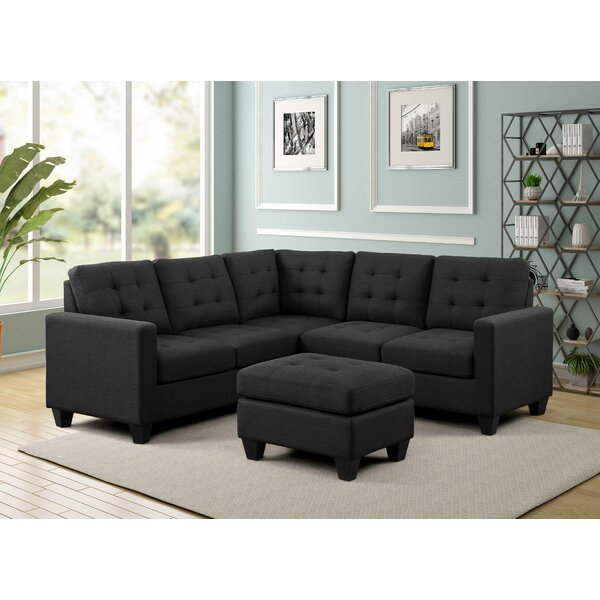 Excellent Brands Gregson Symmetrical Symmetrical Sectional with Ottoman by Ebern Designs by Ebern Designs