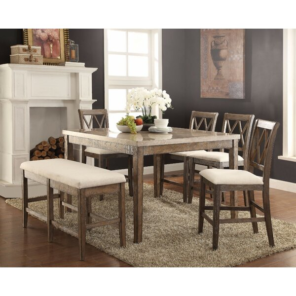 Chantalle Amicable Marble Top Counter Height Dining Table by Gracie Oaks