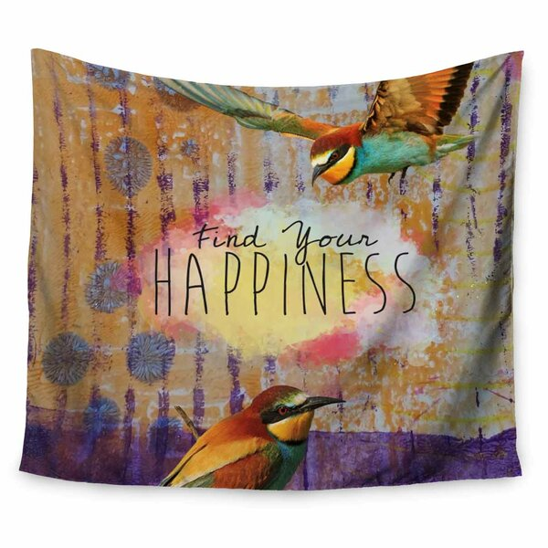 AlyZen Moonshadow Find Your Happiness 2 Birds Tapestry and Wall Hanging by East Urban Home