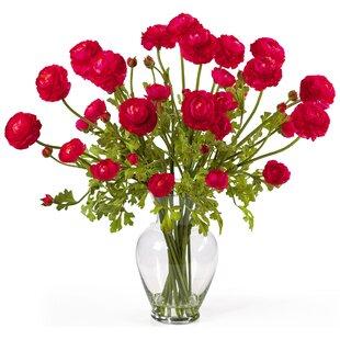 Modern contemporary small silk flower arrangements allmodern liquid illusion silk ranunculus arrangement in red mightylinksfo