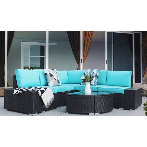 Adarsh Patio 6 Piece Rattan Sectional Seating Group with Cushions by Ebern Designs