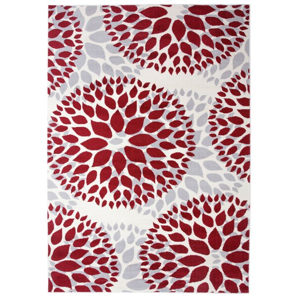 Beaudette Floral Red Area Rug by Wrought Studio