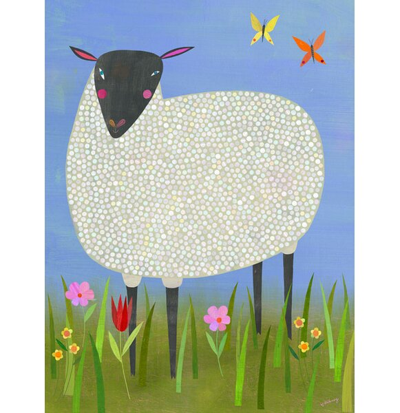 Juanita Black Sheep Framed Canvas Art by Harriet Bee