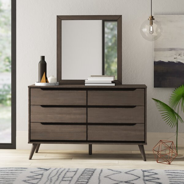 Mason 6 Drawer Double Dresser with Mirror by Mercury Row