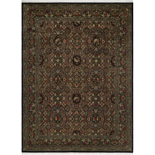 One-of-a-Kind Aaru Hand-Knotted 1960s Black 9' x 12'3 Wool Area Rug