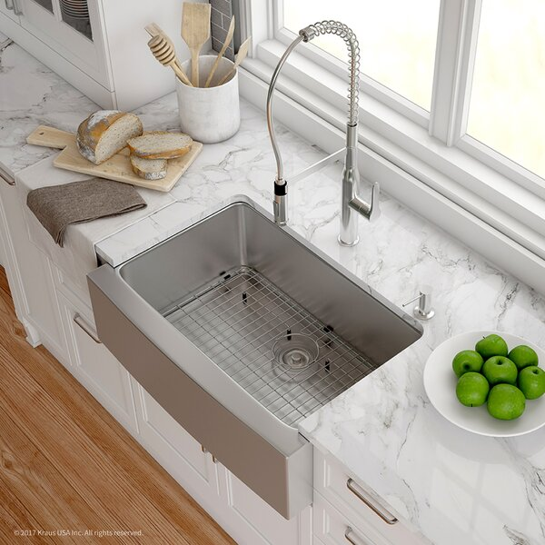 Handmade 16 Gauge Stainless Steel 29.75 L x 20.75 W Apron-Front Farmhouse Kitchen Sink with Faucet by Kraus