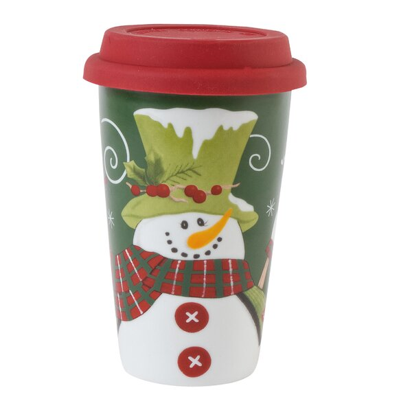 Holly Hat Snowman Travel Mug by Fitz and Floyd