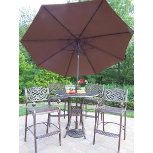 Elite Mississippi 5 Piece Bar Height Dining Set with Umbrella By Oakland Living