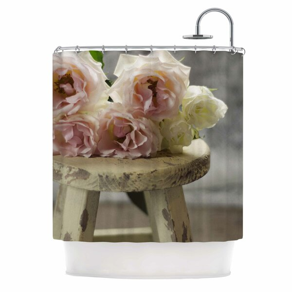 Roses on Stool by Cristina Mitchell Floral Photography Shower Curtain by East Urban Home