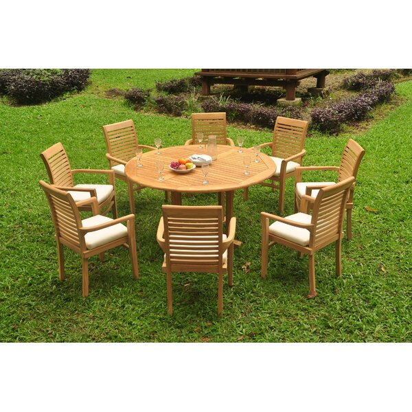 Sparta 9 Piece Teak Dining Set by Rosecliff Heights