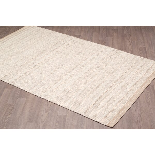 Back East Reversible Hand Woven Wool Ivory/Beige Area Rug by Foundry Select